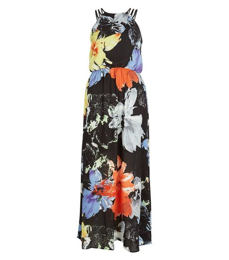 Apricot Black Floral Print Strappy Maxi Dress | New Look