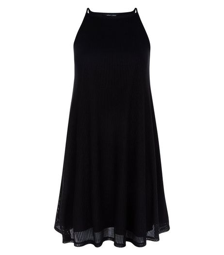 Teens Black Fine Knit Ribbed Swing Dress | New Look