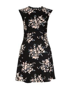 Cameo Rose Black Floral Print Cut Out Back Skater Dress | New Look