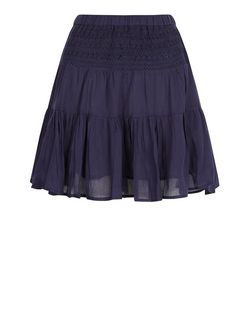 Apricot Navy Lace Skater Skirt | New Look