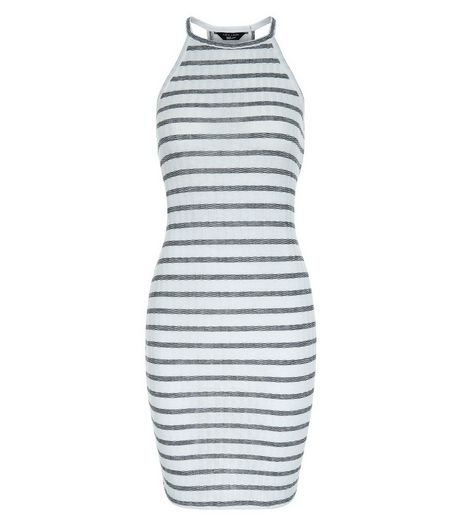 Teens White Stripe High Neck Bodycon Dress | New Look
