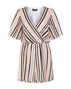White Stripe Wide Sleeve Playsuit  | New Look