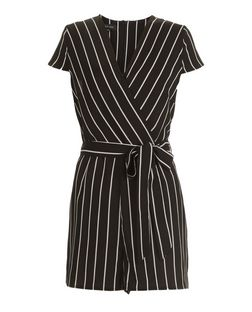 Black Stripe Wrap Front Cap Sleeve Playsuit  | New Look