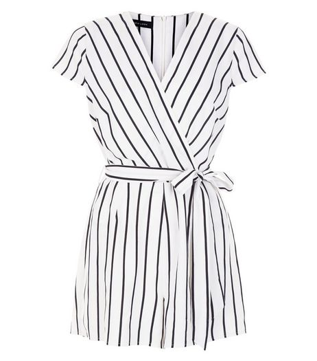 White Stripe Wrap Front Cap Sleeve Playsuit  | New Look