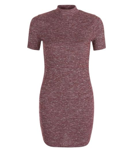 Teens Burgundy Funnel Neck 1/2 Sleeve Bodycon Dress | New Look