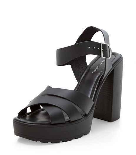 Black Leather Cross Strap Wooden Platform Heeled Sandals  | New Look