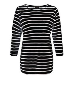 Black Stripe 3/4 Sleeve Top  | New Look