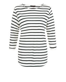 Blue Stripe 3/4 Sleeve Top  | New Look