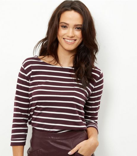 Burgundy Stripe 3/4 Sleeve Top  | New Look