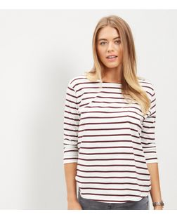 Red Stripe 3/4 Sleeve Top  | New Look