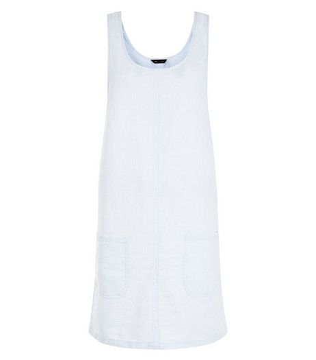 Pale Blue Linen Mix Scoop Neck Pinafore Dress  | New Look