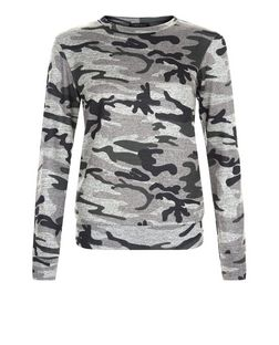 Cameo Rose Green Camo Print Sweater | New Look