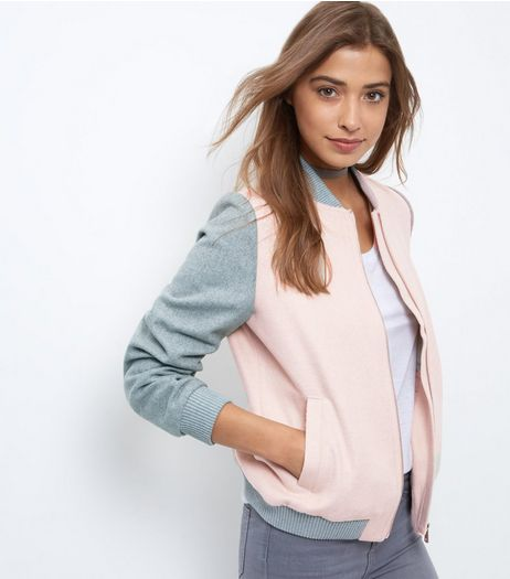 Pink Contrast Sleeve Bomber Jacket  | New Look