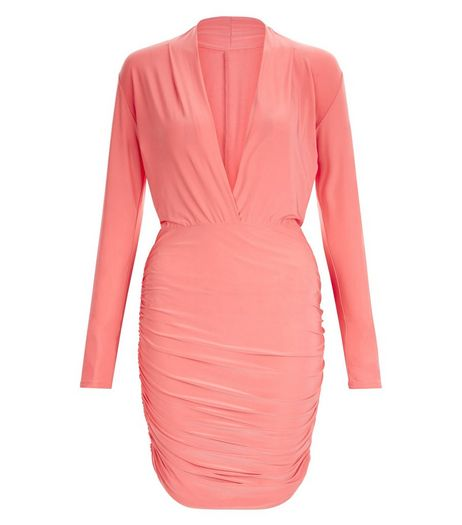 John Zack Coral Plunge Neck Dress | New Look