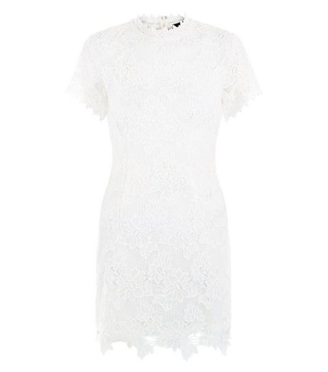 AX Paris Cream Lace High Neck Dress | New Look