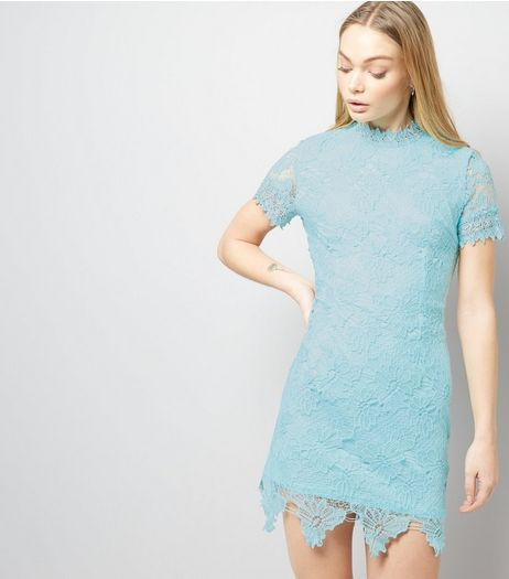 AX Paris Light Blue Lace Funnel Neck Dress  | New Look