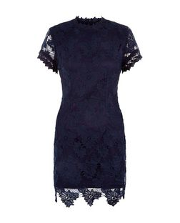 AX Paris Navy Lace High Neck Dress | New Look