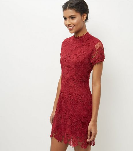 AX Paris Red High Neck Lace Bodycon Dress | New Look