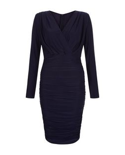 AX Paris Navy Ruched V Neck Dress  | New Look
