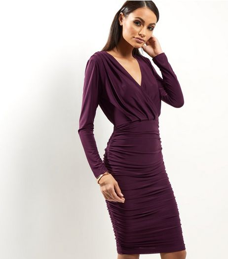 AX Paris Dark Purple Ruched Wrap Front Dress | New Look