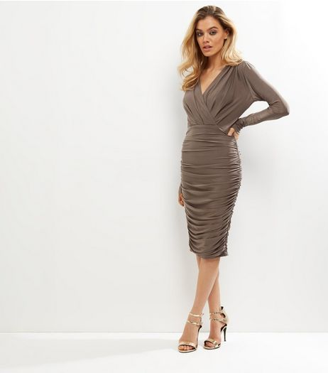 AX Paris Bronze Ruched V Neck Wrap Front Dress | New Look