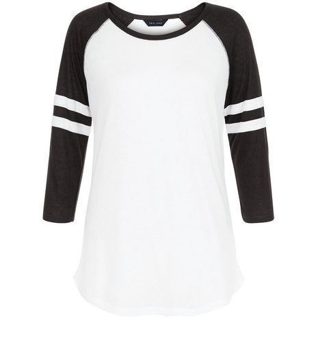 Black Colour Block Stripe Raglan T-Shirt | New Look