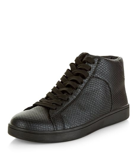 Black Leather-Look Hi-Top Plimsolls | New Look