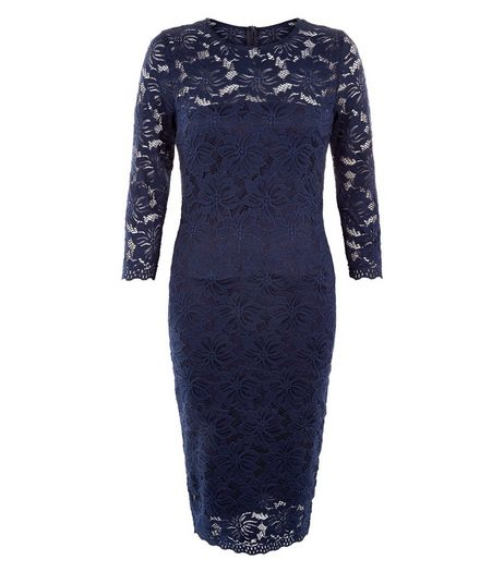 AX Paris Navy Lace 3/4 Sleeve Dress | New Look