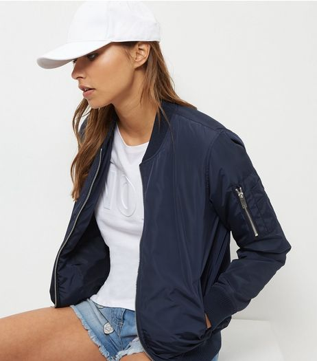 Navy Padded Bomber Jacket  | New Look