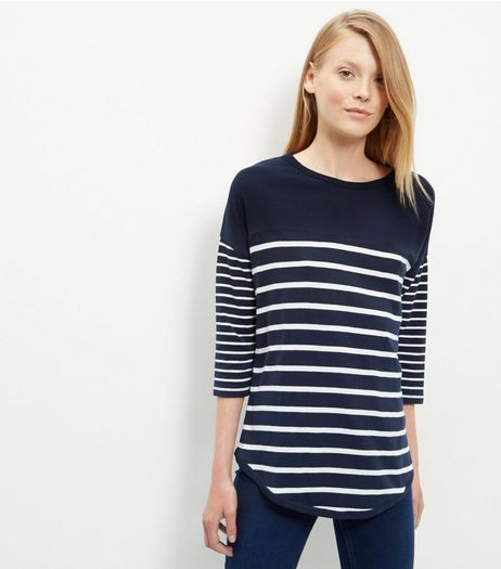 Navy Stripe 1/2 Sleeve Top  | New Look