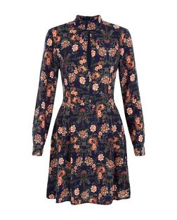 AX Paris Blue Floral Print Long Sleeve Dress | New Look