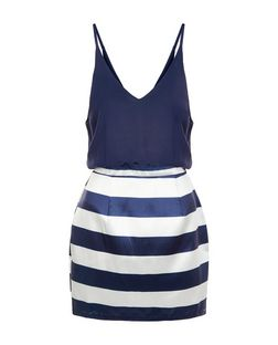 AX Paris Navy Stripe 2 in 1 Dress | New Look