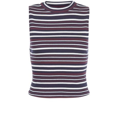 Red Stripe Funnel Neck Sleeveless Top  | New Look