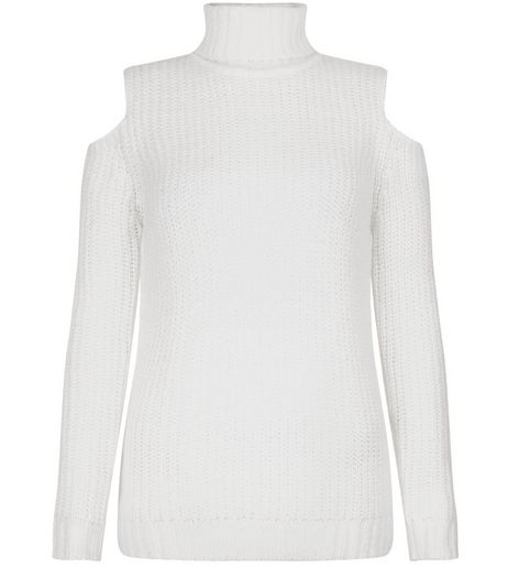 Teens Cream Cold Shoulder Funnel Neck Jumper | New Look