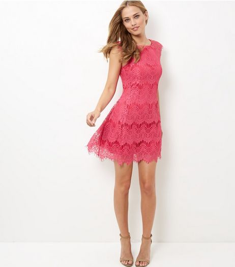 AX Paris Mid Pink Crochet Lace Skater Dress | New Look
