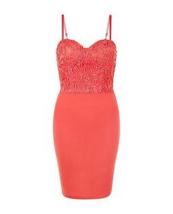 AX Paris Coral Lace Panel Strappy Dress | New Look
