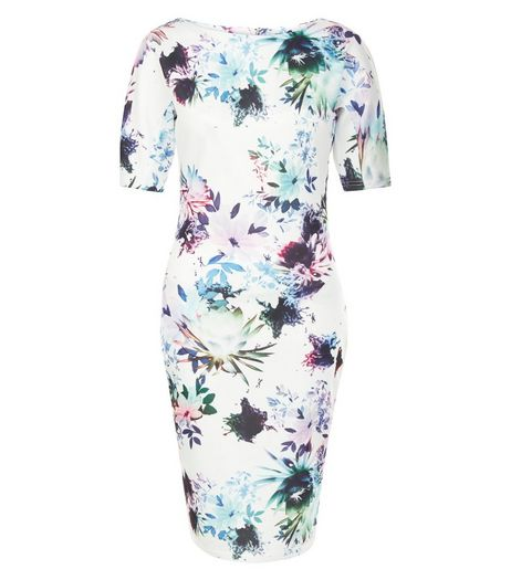 AX Paris White Floral Print Short Sleeve Midi Dress | New Look