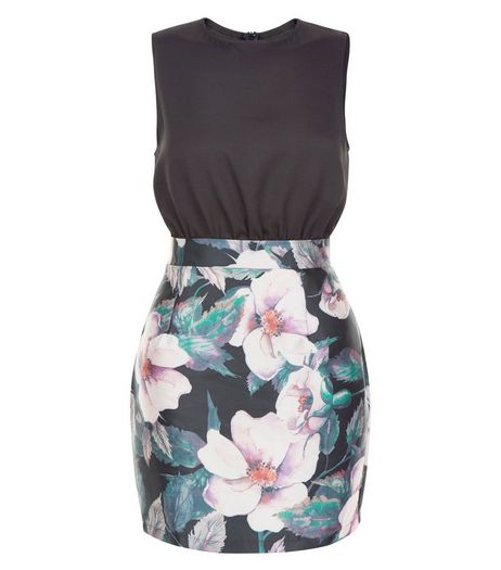 AX Paris Black Floral Print 2 in 1 Dress | New Look