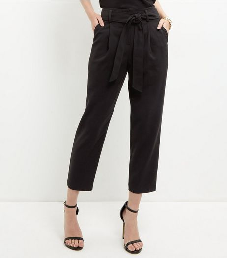 Black Tie Waist Tapered Trousers  | New Look