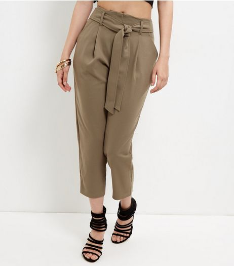 Olive Green Tie Waist Tapered Trousers  | New Look