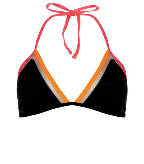 Black Contrast Trim Mesh Bikini Top | New Look