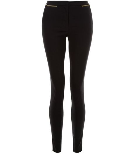 Black Zip Pocket Bengaline Slim Leg Trousers | New Look