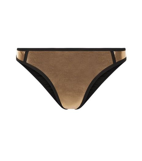 Bronze Metallic Contrast Trim Bikini Bottoms | New Look