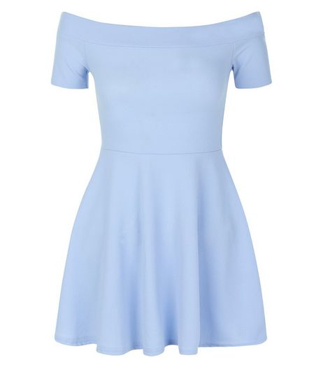 Teens Pale Blue Short Sleeve Skater Dress | New Look
