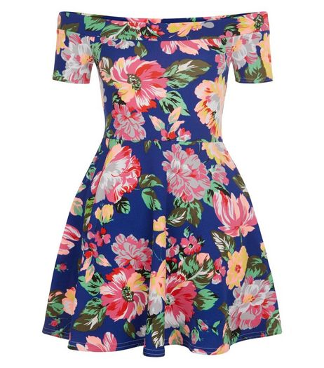 Teens Blue Floral Print Bardot Neck Skater Dress | New Look