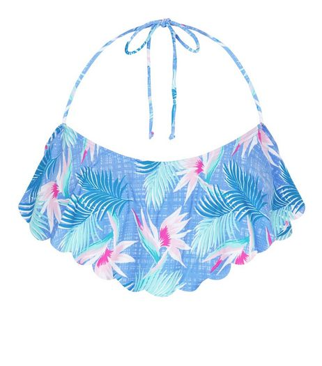Blue Tropical Print Flounce Bikini Top | New Look