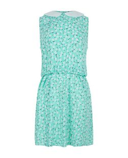 Teens Green Daisy Print Contrast Collar Dress | New Look