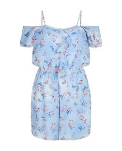 Teens Blue Butterfly Print Frill Playsuit | New Look
