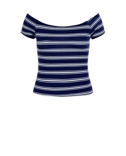 Teens Blue Stripe Bardot Neck Short Sleeve Top | New Look