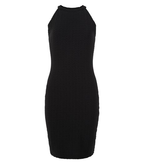 Teens Black Textured High Neck Dress | New Look